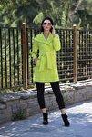 Kadın Fıstık Yeşil Kaşe Fit Kaban