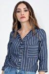 Kadın Lacivert Gizli Cep Katlama Kol Çizgili Gömlek