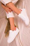 Beyaz-Turuncu Kadın Sneaker 14395