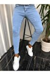 Erkek Jean Italyan Kesim Denım Buz Mavi Kot Pantolon