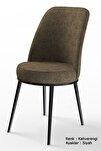 Dexa Serisi Kahverengi Renk Sandalye Mutfak Sandalyesi, Yemek Sandalyesi Ayaklar Siyah