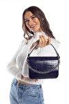 Aynı Butikte 2. Ürün 1 TL Lacivert Kroko Kadın Kapaklı Zincirli Çapraz Çanta