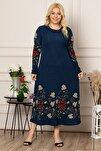Kadın Bordo Çiçek Desen Uzun Esnek Krep Elbise