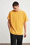 JETT Erkek Hardal Basic Kısa Kollu Oversize T-Shirt