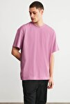 JETT Erkek Pembe Basic Kısa Kollu Oversize T-Shirt