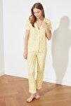 Sarı Desenli Örme Pijama Takımı THMSS19IP0026