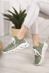 Kadın Yeşil Dantel Bağcıklı Yumuşak Taban Sneaker