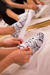 Beyaz Yılan Kadın Sneaker 15732