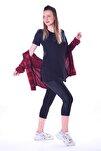 Kadın Siyah Yanları Yırtmaçlı Uzun T-shirt