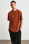 JETT Erkek Kiremit Basic Kısa Kollu Oversize T-Shirt