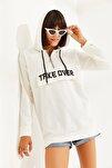 Kadın Önü Baskılı Uzun Kapşonlu Sweatshirt