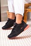 Siyah Pembe Bağcıklı Kadın Spor Ayakkabı • A212kjmp0008