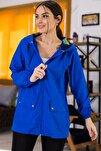Kadın Saks Cepleri Çıt Çıtlı Fermuarlı  Astarsız Yağmurluk ARM-21K055002