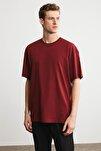 JETT Erkek Bordo Basic Kısa Kollu Oversize T-Shirt