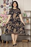 Büyük Beden Desenli Günlük Likralı Viskon Elbise