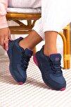 Lacivert Fuşya Bağcıklı Kadın Spor Ayakkabı • A212kjmp0008