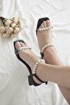 Kadın Siyah Helly Inci Detay Topuklu Ayakkabı