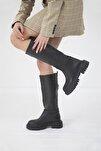 Lona Kadın Deri Çizme Siyah