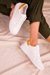 Beyaz-Hardal Sarı Kadın Sneaker 14395