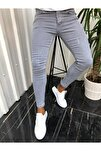 Erkek Gri Jean Italyan Kesim Denım Kot Pantolon