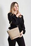 Kadın Kum Rengi El/omuz Çantası (özel Fiyat)