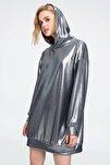 Kadın Silver Kapşonlu Sweatshırt Elbise ALC-018-109-TE