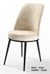 Dexa Serisi Krem Renk Sandalye Mutfak Sandalyesi, Yemek Sandalyesi Ayaklar Siyah