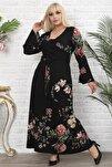 Siyah Çiçek Desenli Kruvaze Yaka Volan Kol Elbise