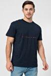 Erkek Lacivert Işlemeli Baskı Tshirt - 12176780