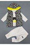 Erkek Bebek 3 Parça Yelekli Takım ,hıppıl Baby %100 Pamuk Ürün