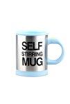 Kendi Kendini Karıştıran Mikser Kupa Termos Bardak; Self Stirring Mug - Açık Mavi