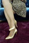 Kadın Altın Topuklu Ayakkabı