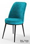 Dexa Serisi Turkuaz Renk Sandalye Mutfak Sandalyesi, Yemek Sandalyesi Ayaklar Siyah