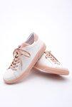 Kadın Pudra Beyaz Sneaker Ayakkabı Riyo