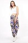 Kadın Bej Yaprak Desenli Rahat Kesim Pantolon