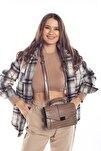 Vizon Kroko Kadın Kapaklı Metal Aksesuarlı Omuz Çantası