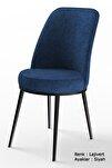 Dexa Serisi Lajivert Renk Sandalye Mutfak Sandalyesi, Yemek Sandalyesi Ayaklar Siyah