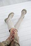 Lona Kadın Deri Çizme Bej