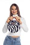 Aynı Butikte 2.Ürün 1 TL  Zebra Desenli Kadın Yuvarlak Omuz Çantası