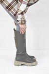 Kadın Gri Lona Deri Çizme