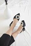 Kadın Topuklu Taş Detay Saten Sandalet