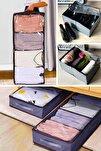 Ikili Set Siyah 4 Bölmeli Ayakkabı Ve Giysi Saklama Taşıma Hurcu Pencereli Baza Hurcu