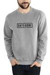 Erkek Gri Melanj Days Gone Logo Baskılı Örme  Uzun Kol Sweatshirt
