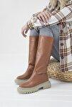 Kadın Taba Lona Deri Çizme
