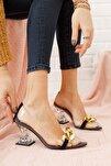 Kadın Ayakkabı Siyah Süet Tokalı Şeffaf Topuklu Ayakkabı