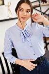 Kadın Bebe Mavi Yakası Bağlamalı Desenli Gömlek ARM-20K001150
