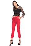 Pantolon - Bilekte Atlas Kumas Pantolon | Pnt19003 Kırmızı