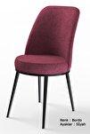 Dexa Serisi Bordo Renk Sandalye Mutfak Sandalyesi, Yemek Sandalyesi Ayaklar Siyah
