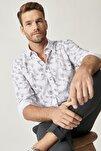 Erkek Beyaz-Gri Baskılı Düğmeli Yaka Tailored Slim Fit Gömlek
