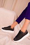 Siyah-Siyah Yılan Kadın Sneaker 15732